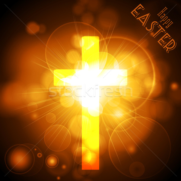 Pascua cruz dorado texto Foto stock © elaine