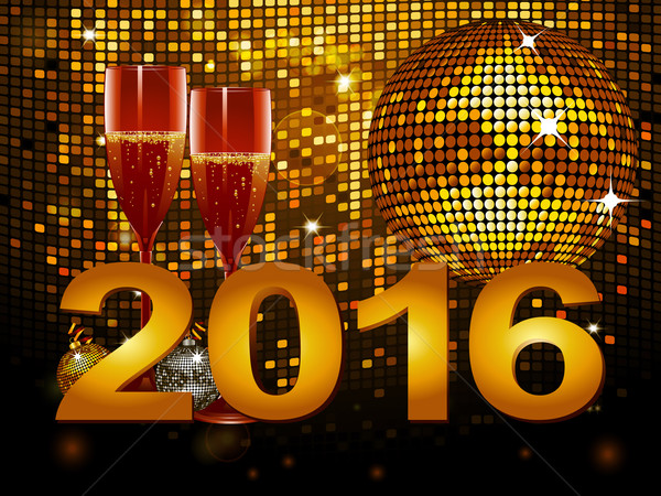 2016 New Year background with champagne glass and disco ball Stock photo © elaine