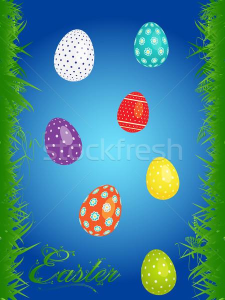 イースター フローラル 卵 肖像 青 装飾された ストックフォト © elaine