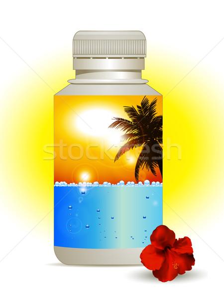été vacances bouteille plastique coloré étiquette Photo stock © elaine