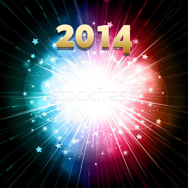 Año nuevo fuegos artificiales 2014 celebración verde azul Foto stock © elaine