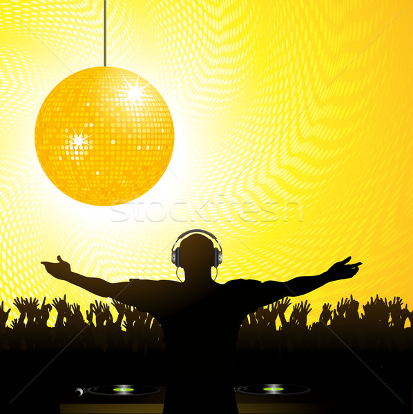 DJ crowd and disco ball Stock photo © elaine