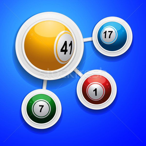 Bingo balls on frames over blue background Stock photo © elaine