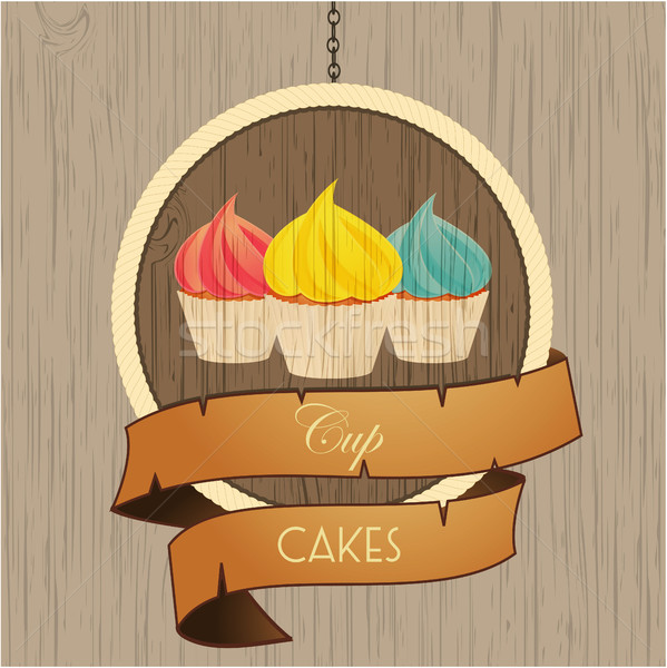 Cupcakes trio on wooden sign with rope details Stock photo © elaine