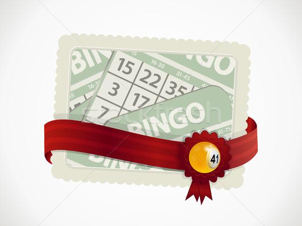 Bingó ajándékkártya szalag címer labda papír Stock fotó © elaine