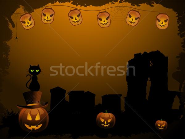 Stockfoto: Halloween · scary · pompoenen · kerkhof · kat