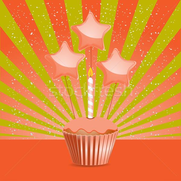 Laranja aniversário bolo balões Foto stock © elaine
