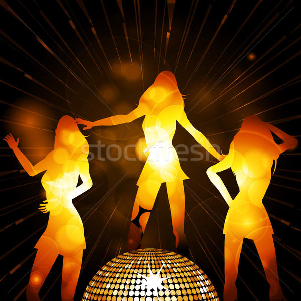 Female glowing silhouettes and disco ball Stock photo © elaine