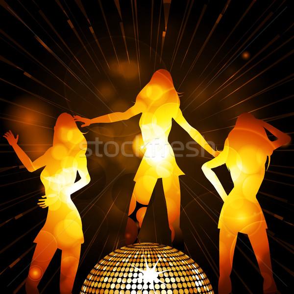 Kadın siluetleri disko topu dans altın Stok fotoğraf © elaine
