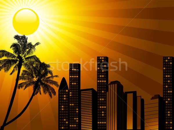 Tropicales ciudad puesta de sol palmera silueta edificios Foto stock © elaine
