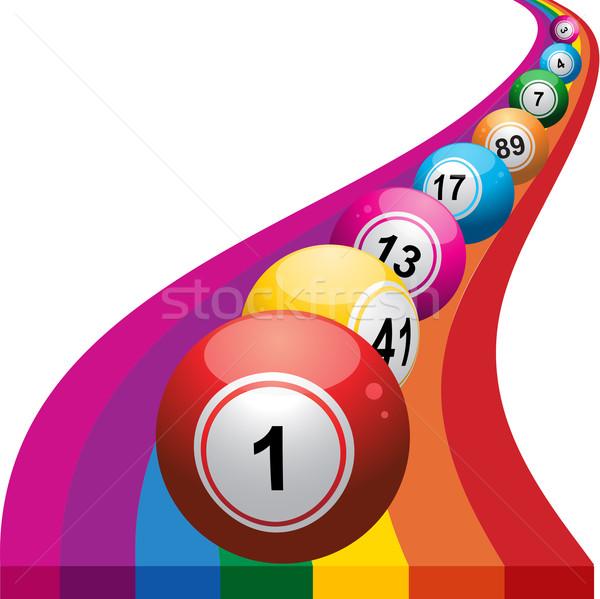 Bingo regenboog Blauw bal spel Stockfoto © elaine