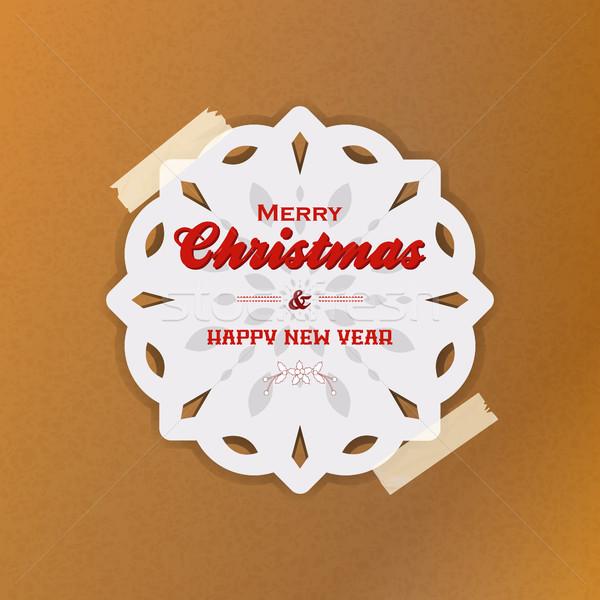 Рождества снежинка грубая оберточная бумага белый с Новым годом текста Сток-фото © elaine