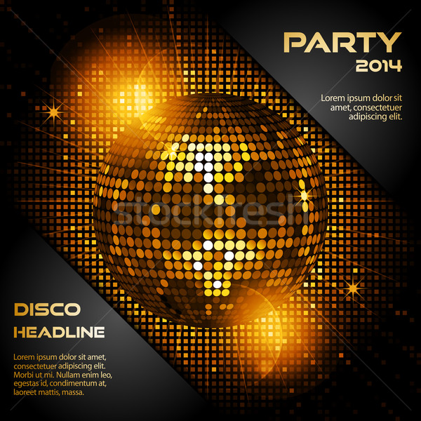 disco ball in glowing gold with sample text Stock photo © elaine