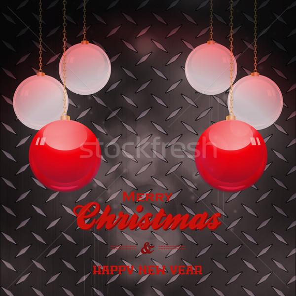 Christmas tekst zwarte metaal plaat snuisterij Stockfoto © elaine