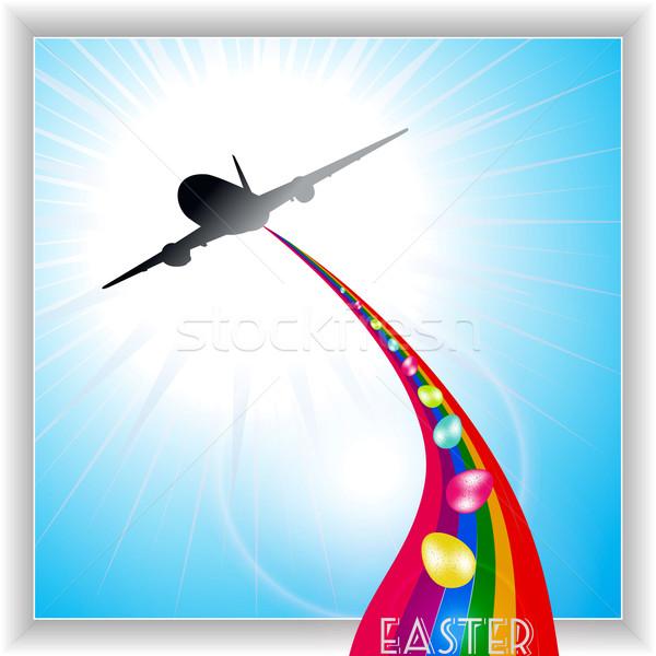 Aircraft release Easter eggs on rainbow Stock photo © elaine