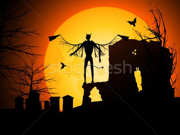 Halloween duivel maan zwarte vleugels viering Stockfoto © elaine