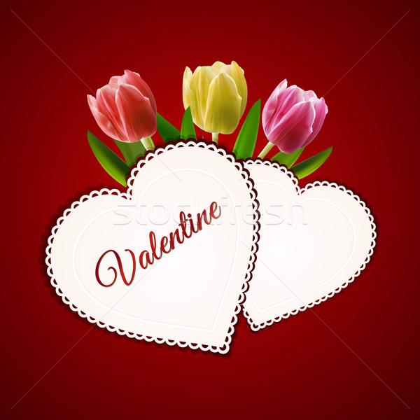 Валентин сердце карт тюльпаны сердцах текста Сток-фото © elaine