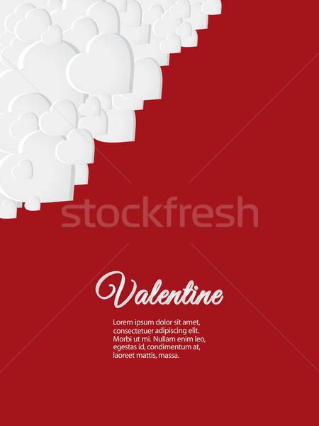 Walentynki czerwony karty biały serca 3D Zdjęcia stock © elaine