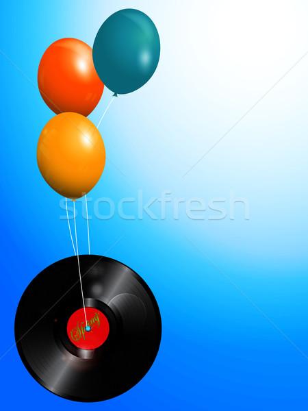 Balloons and spring vinyl record  background Stock photo © elaine