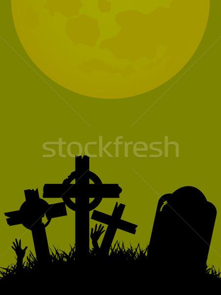 Halloween mezar taşı çapraz eller yeşil Stok fotoğraf © elaine