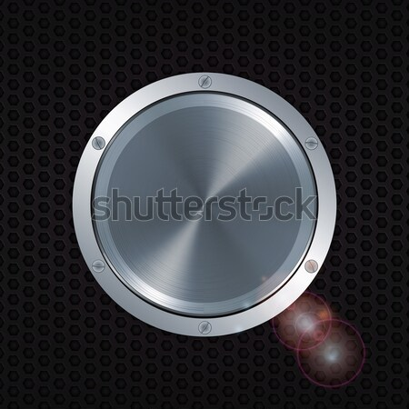 3D metallic button with screws over honeycomb metal plate Stock photo © elaine