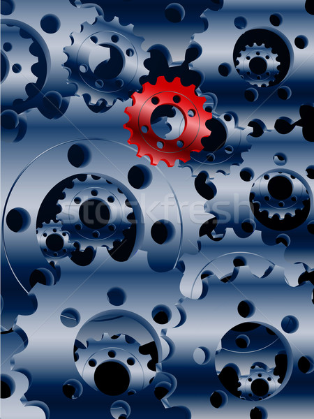 Metallic blue cogs and a red one background Stock photo © elaine