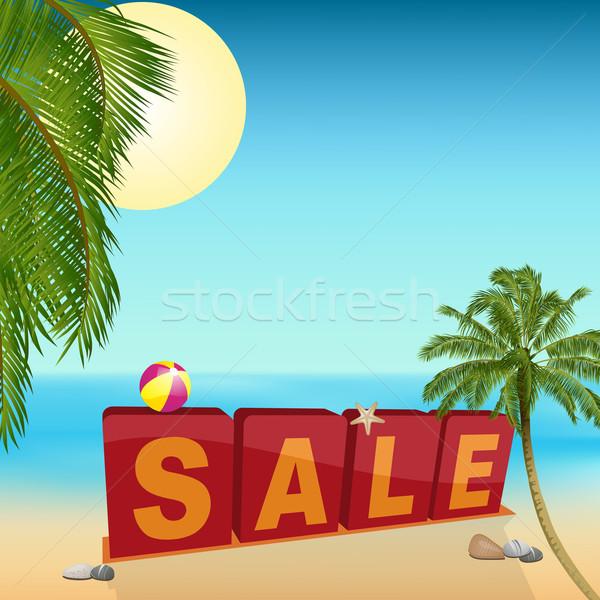 Verão venda assinar praia praia tropical palmeiras Foto stock © elaine