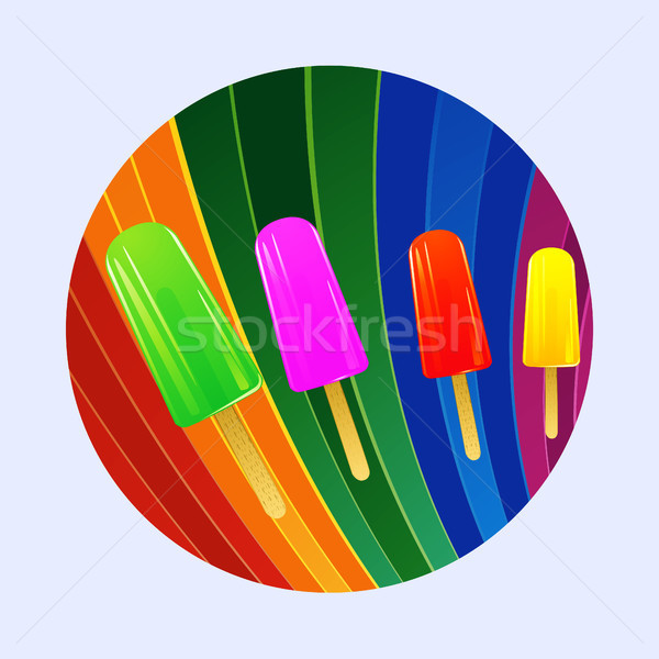 Ice lollies over multicoloured curved stripes border Stock photo © elaine