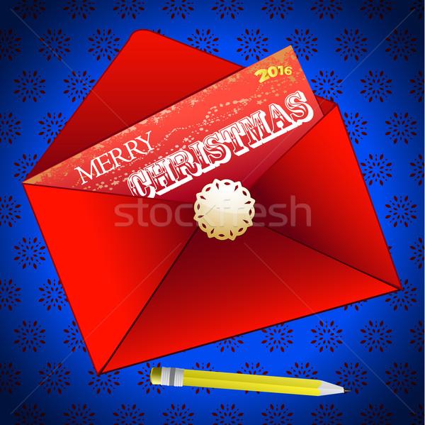 Vrolijk christmas envelop Rood bericht sneeuwvlok Stockfoto © elaine