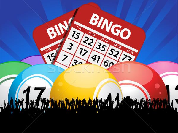 Bingo cartões multidão azul Foto stock © elaine