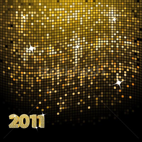 Pezsgő új év arany mozaik 2011 üzenet Stock fotó © elaine