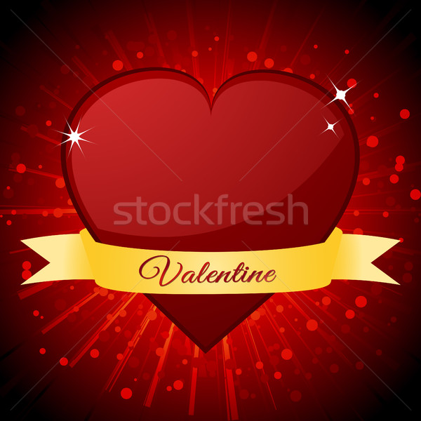 Valentine red heart and banner over starburst Stock photo © elaine