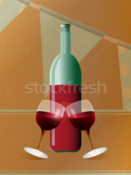 Red wine bottle and glasses over brown paper Stock photo © elaine