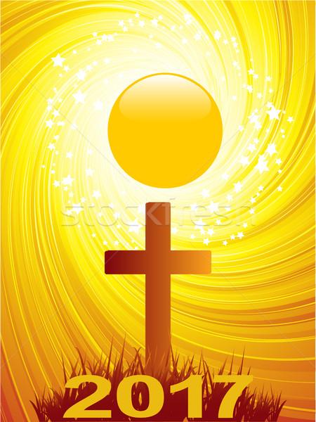 Streszczenie krzyż tekst złoty obracać star Zdjęcia stock © elaine