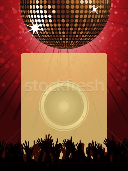 Disco strony plakat disco ball tłum portret Zdjęcia stock © elaine