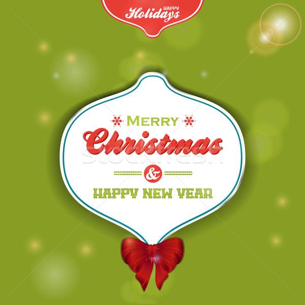 Natal bugiganga etiqueta verde arco Foto stock © elaine