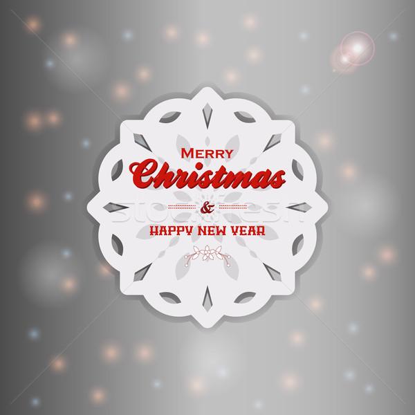 Рождества снежинка текста белый Сток-фото © elaine