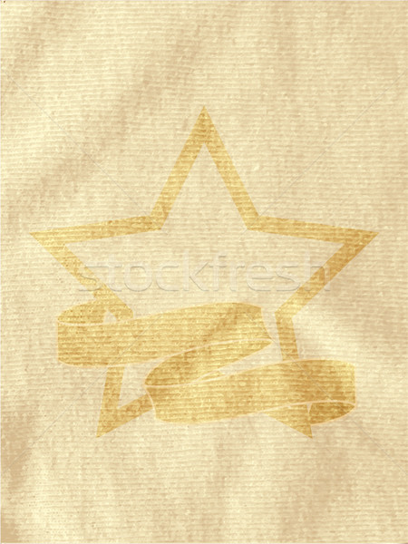 Vintage star and banner on brown crumpled material Stock photo © elaine
