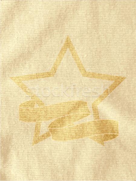 Vintage star bannière brun matériel imprimé Photo stock © elaine