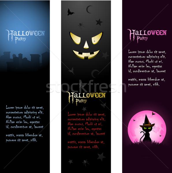Halloween banners establecer fiesta cementerio miedo Foto stock © elaine