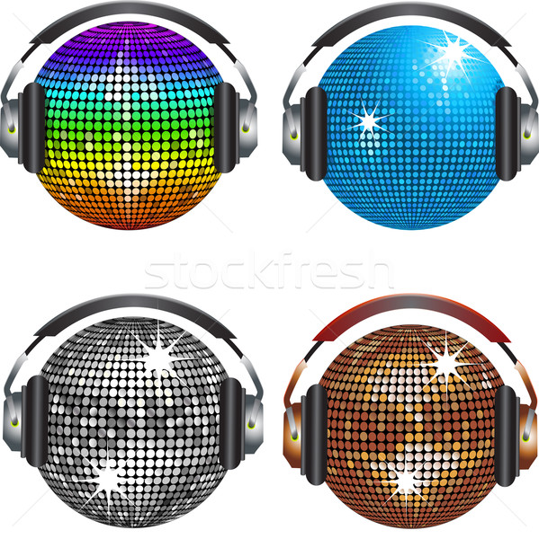 Boule disco quatre disco miroir casque Photo stock © elaine