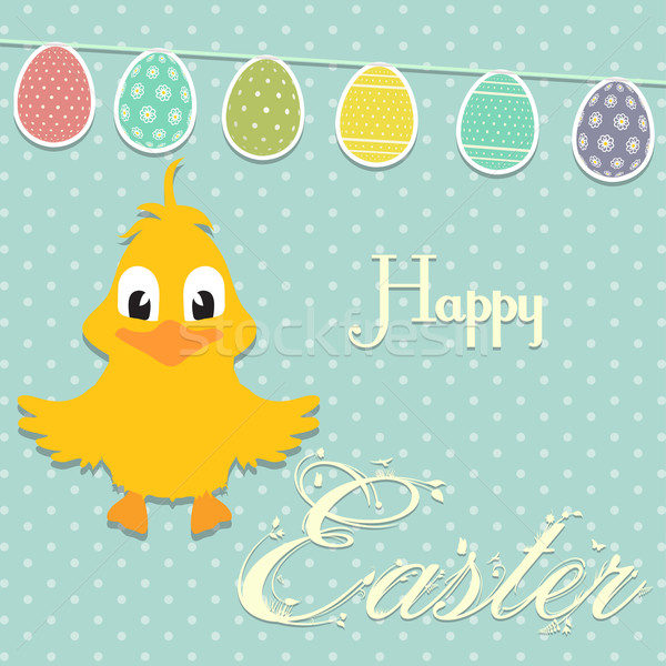 Easter border background with chick and bunting Stock photo © elaine