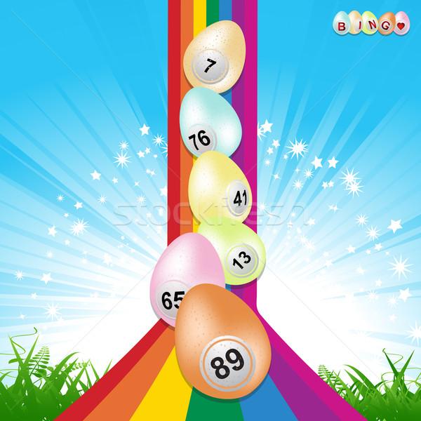 Easter bingo eggs and rainbow Stock photo © elaine