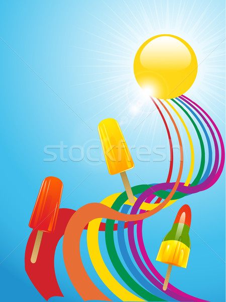 Ice lollies and coloured ribbons and sunny background Stock photo © elaine