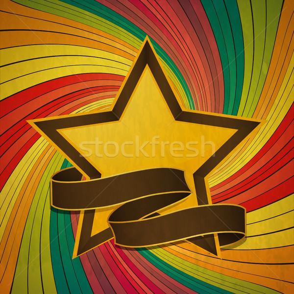 Vintage звездой баннер Swirl желтый Сток-фото © elaine