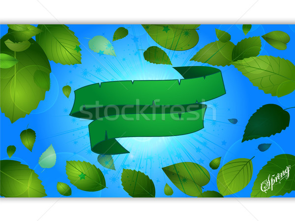 Spring blue panel and leafs with green banner Stock photo © elaine