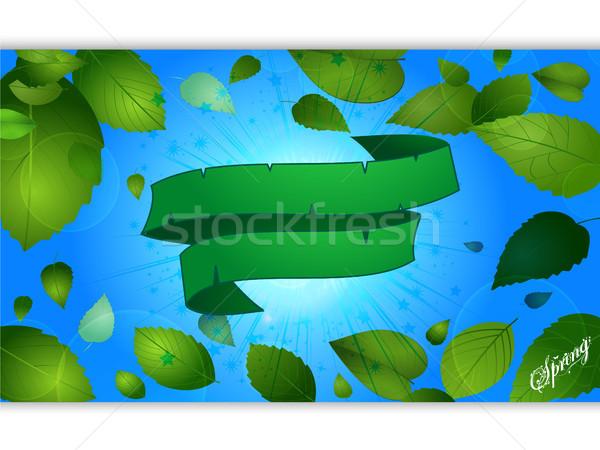 Stockfoto: Voorjaar · Blauw · paneel · groene · banner · seizoen