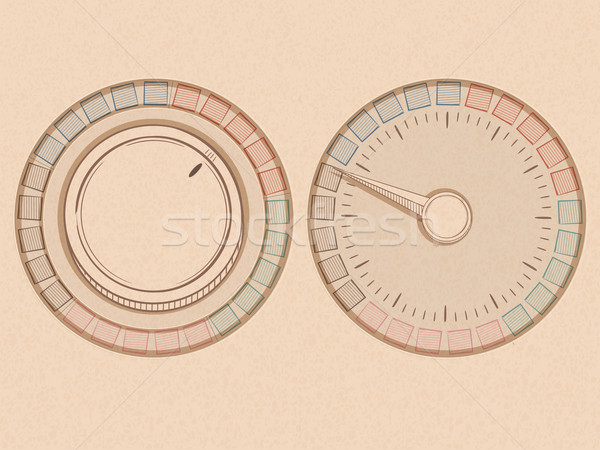 button and dial with needle in a handrawn style on a texture bac Stock photo © elaine