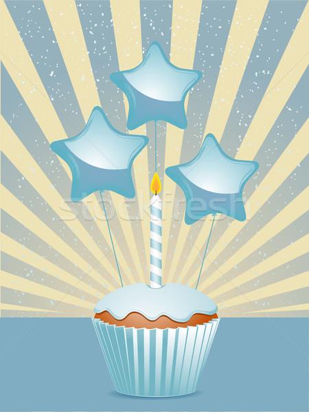 Blue birthday cupcake Stock photo © elaine