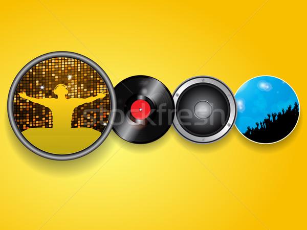 Vinyl spreker menigte vier cirkels luidspreker Stockfoto © elaine